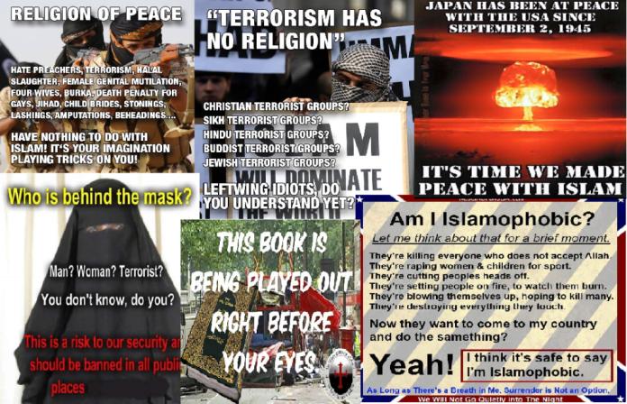 Quelques rubriques transmettant la haine contre Islam. Source: Facebook page officiel des groupes de fascistes