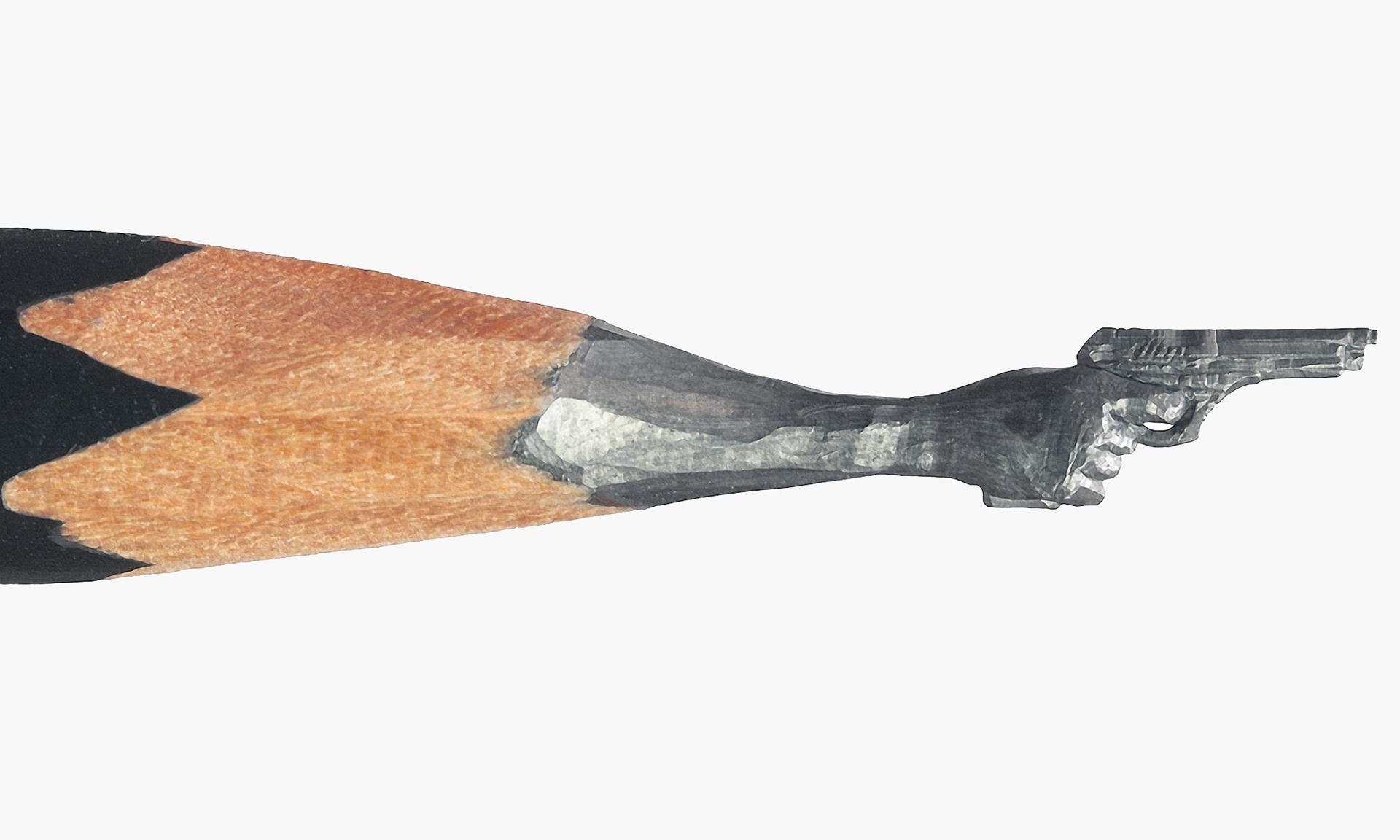 A sculpted pencil by the Russian miniature artist Salavat Fidai. Photograph: WENN Source: The Guardian