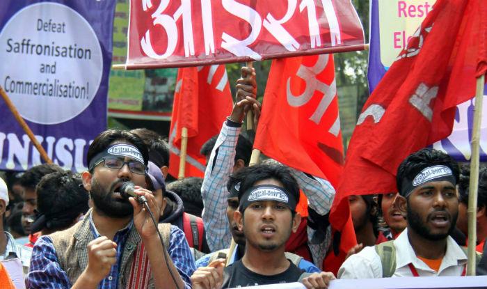 JNU students protests the arrest of the JNUSU president Kanhaiya Kumar