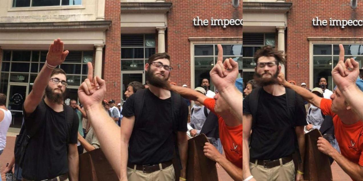 Man gets punched for Nazi salute
